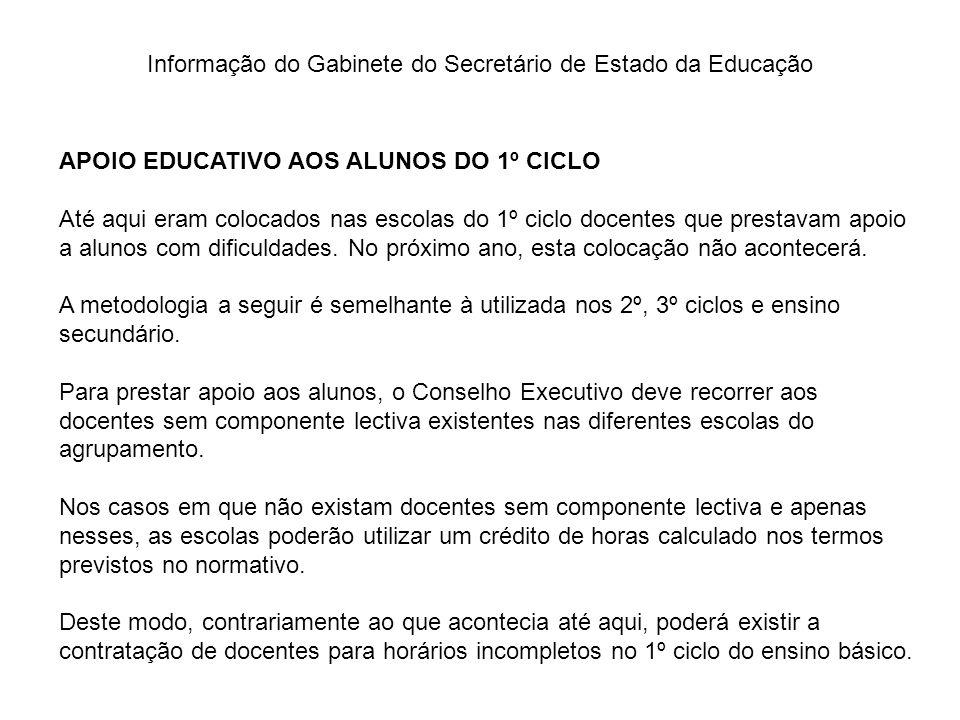 Informação do Gabinete do Secretário de Estado da Educação APOIO EDUCATIVO AOS ALUNOS DO 1º CICLO Até aqui eram colocados nas escolas do 1º ciclo doce