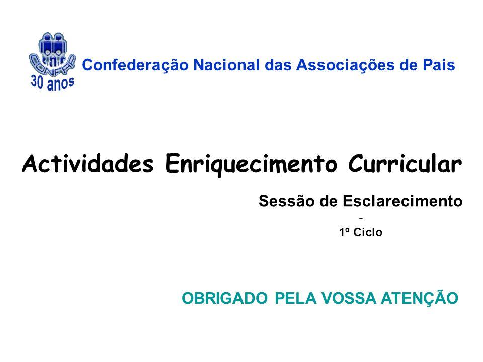Confederação Nacional das Associações de Pais OBRIGADO PELA VOSSA ATENÇÃO Actividades Enriquecimento Curricular Sessão de Esclarecimento - 1º Ciclo
