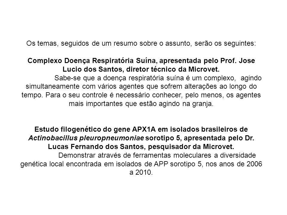 Os temas, seguidos de um resumo sobre o assunto, serão os seguintes: Complexo Doença Respiratória Suína, apresentada pelo Prof. Jose Lucio dos Santos,