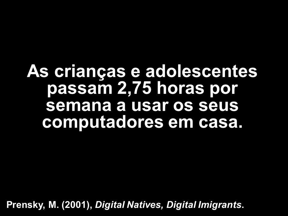 As crianças e adolescentes passam 2,75 horas por semana a usar os seus computadores em casa. Prensky, M. (2001), Digital Natives, Digital Imigrants.