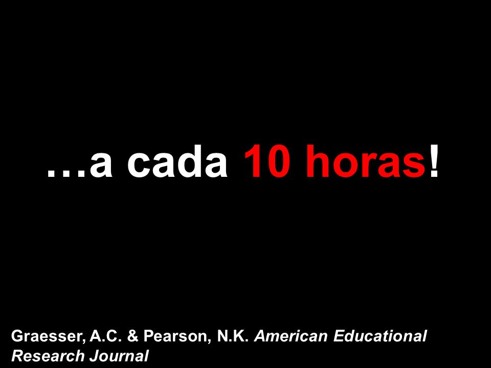 …a cada 10 horas! Graesser, A.C. & Pearson, N.K. American Educational Research Journal