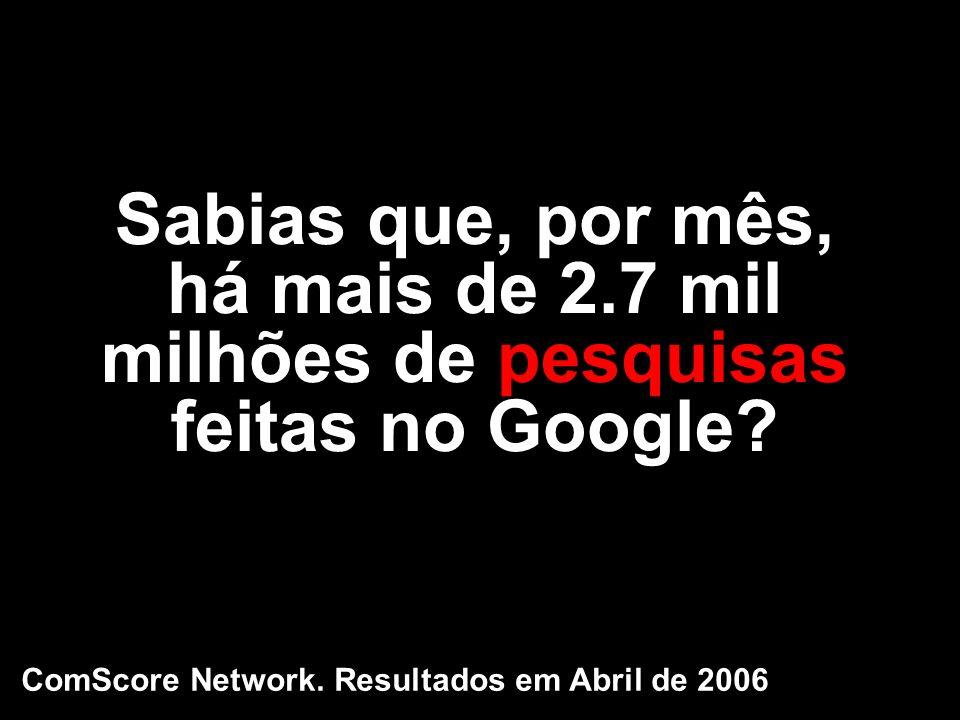 Sabias que, por mês, há mais de 2.7 mil milhões de pesquisas feitas no Google? ComScore Network. Resultados em Abril de 2006