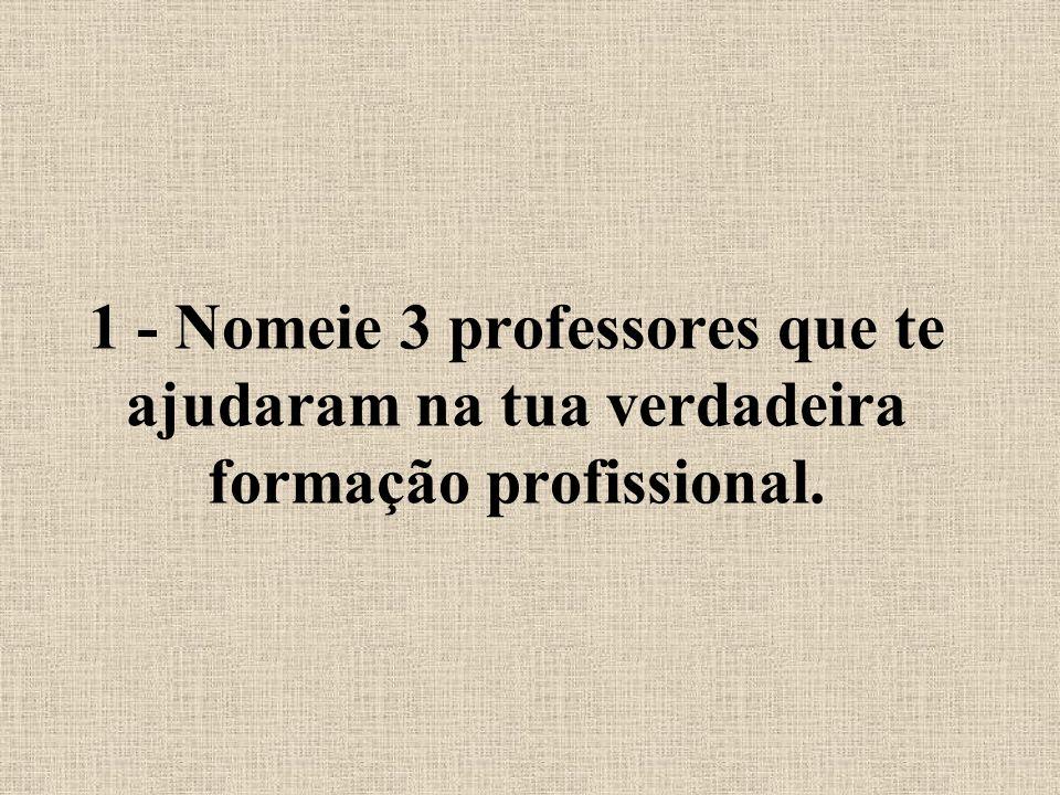 1 - Nomeie 3 professores que te ajudaram na tua verdadeira formação profissional.