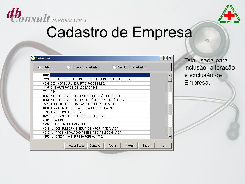 db Consult INFORMÁTICA Manutenção de tabelas de Exames Tela usada para exportar exames de um registro para outro, podendo excluir o registro origem após a exportação.