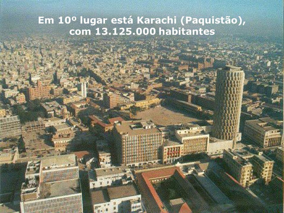 Em 10º lugar está Karachi (Paquistão), com 13.125.000 habitantes