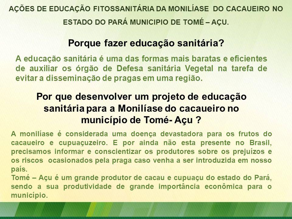 Porque fazer educação sanitária? AÇÕES DE EDUCAÇÃO FITOSSANITÁRIA DA MONILÍASE DO CACAUEIRO NO ESTADO DO PARÁ MUNICIPIO DE TOMÉ – AÇU. A educação sani