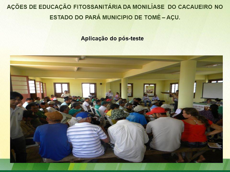 AÇÕES DE EDUCAÇÃO FITOSSANITÁRIA DA MONILÍASE DO CACAUEIRO NO ESTADO DO PARÁ MUNICIPIO DE TOMÉ – AÇU. Aplicação do pós-teste