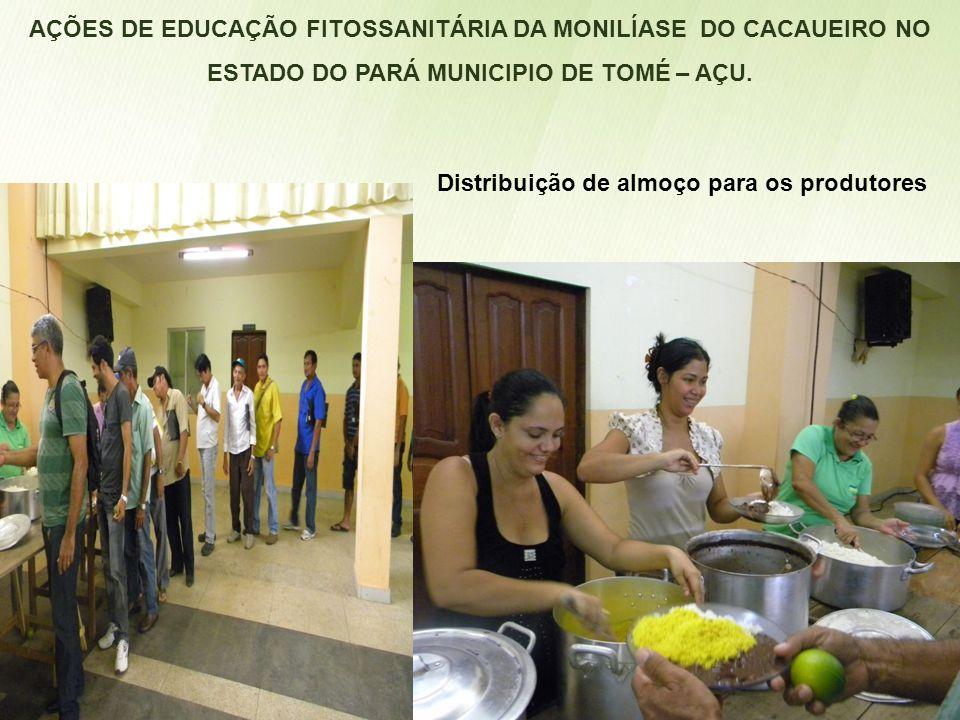 AÇÕES DE EDUCAÇÃO FITOSSANITÁRIA DA MONILÍASE DO CACAUEIRO NO ESTADO DO PARÁ MUNICIPIO DE TOMÉ – AÇU. Distribuição de almoço para os produtores