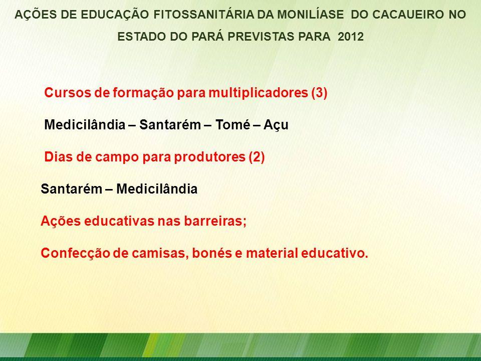 AÇÕES DE EDUCAÇÃO FITOSSANITÁRIA DA MONILÍASE DO CACAUEIRO NO ESTADO DO PARÁ PREVISTAS PARA 2012 Cursos de formação para multiplicadores (3) Medicilân