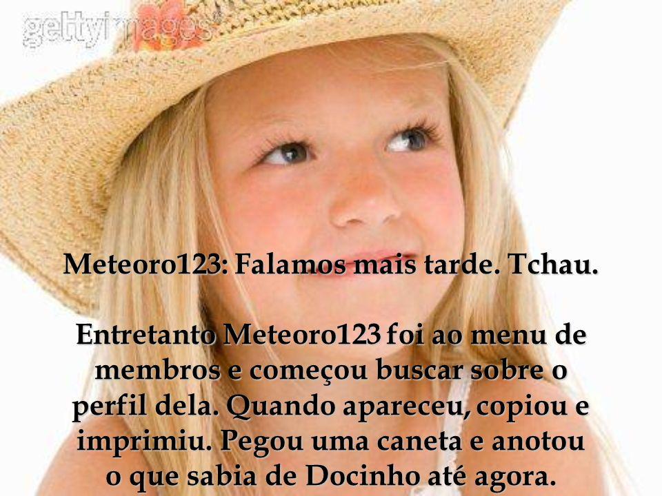 Meteoro123: Falamos mais tarde. Tchau. Entretanto Meteoro123 foi ao menu de membros e começou buscar sobre o perfil dela. Quando apareceu, copiou e im