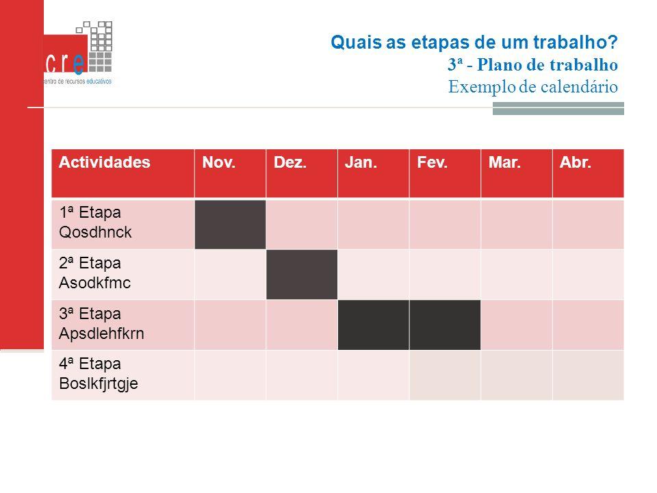 Quais as etapas de um trabalho? 3ª - Plano de trabalho Exemplo de calendário Exemplo de calendário ActividadesNov.Dez.Jan.Fev.Mar.Abr. 1ª Etapa Qosdhn