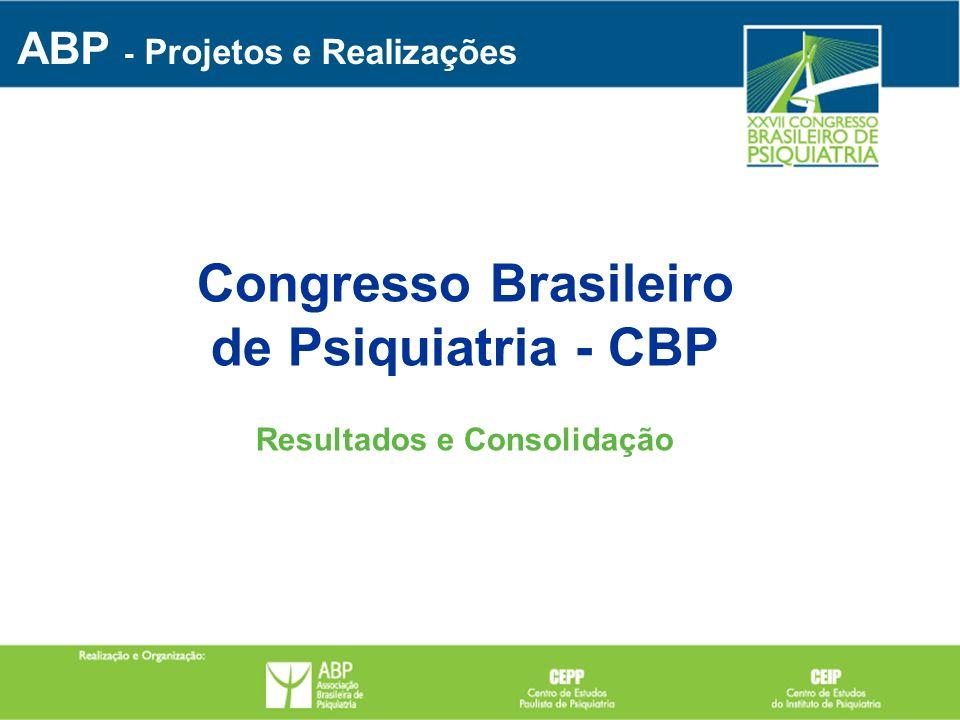 Congresso Brasileiro de Psiquiatria - CBP Resultados e Consolidação ABP - Projetos e Realizações