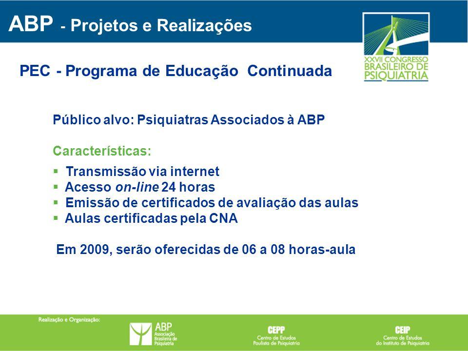 PEC - Programa de Educação Continuada Público alvo: Psiquiatras Associados à ABP Características: Transmissão via internet Acesso on-line 24 horas Emi