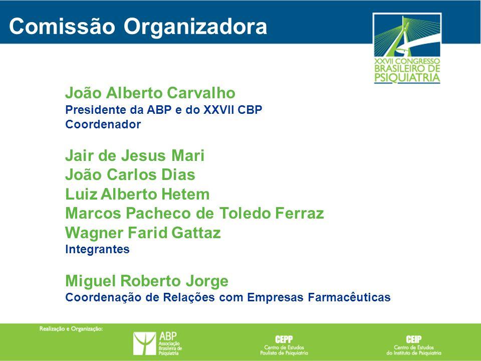 Comissão Organizadora João Alberto Carvalho Presidente da ABP e do XXVII CBP Coordenador Jair de Jesus Mari João Carlos Dias Luiz Alberto Hetem Marcos