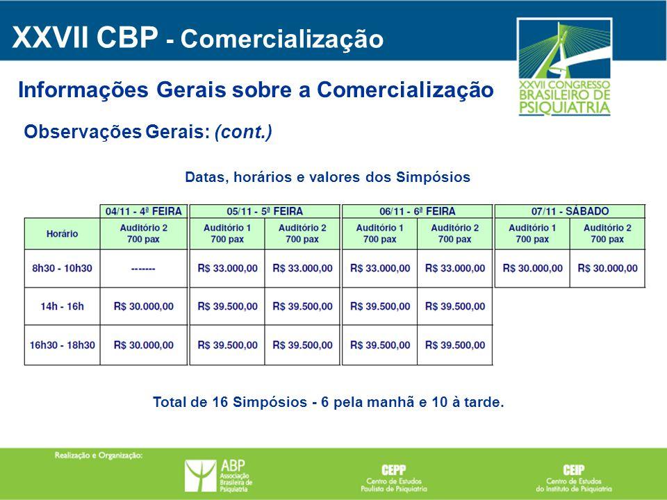 Observações Gerais: (cont.) Informações Gerais sobre a Comercialização XXVII CBP - Comercialização Datas, horários e valores dos Simpósios Total de 16