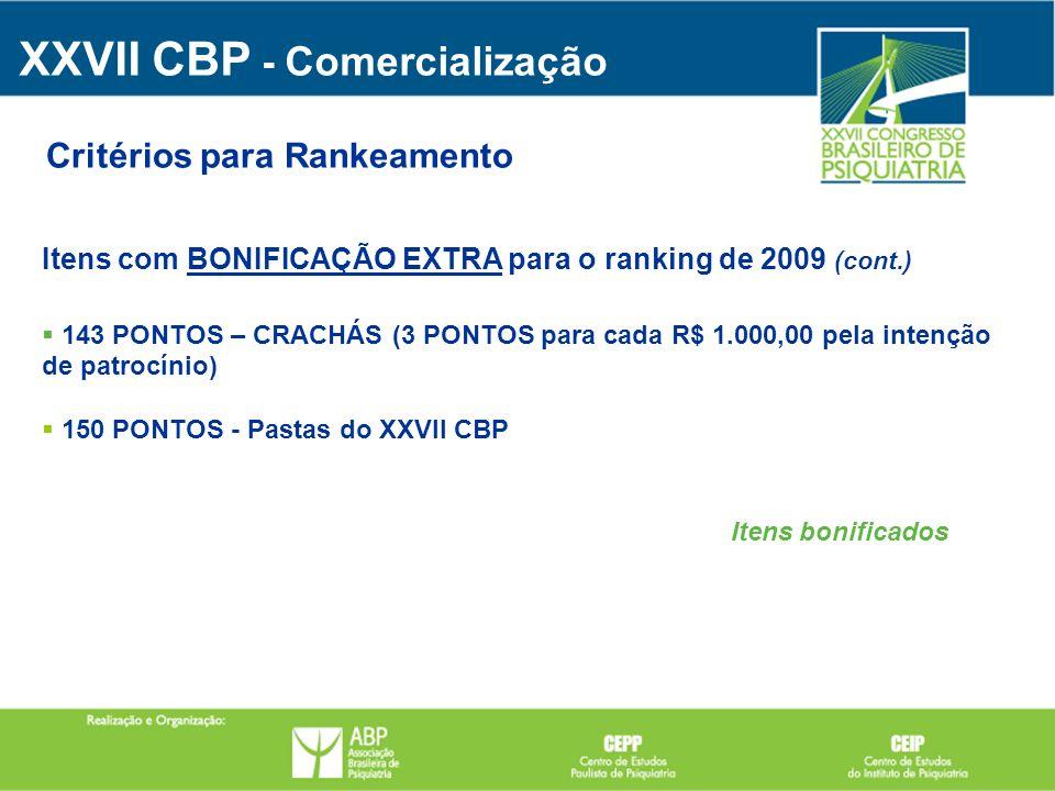 Itens com BONIFICAÇÃO EXTRA para o ranking de 2009 (cont.) 143 PONTOS – CRACHÁS (3 PONTOS para cada R$ 1.000,00 pela intenção de patrocínio) 150 PONTO