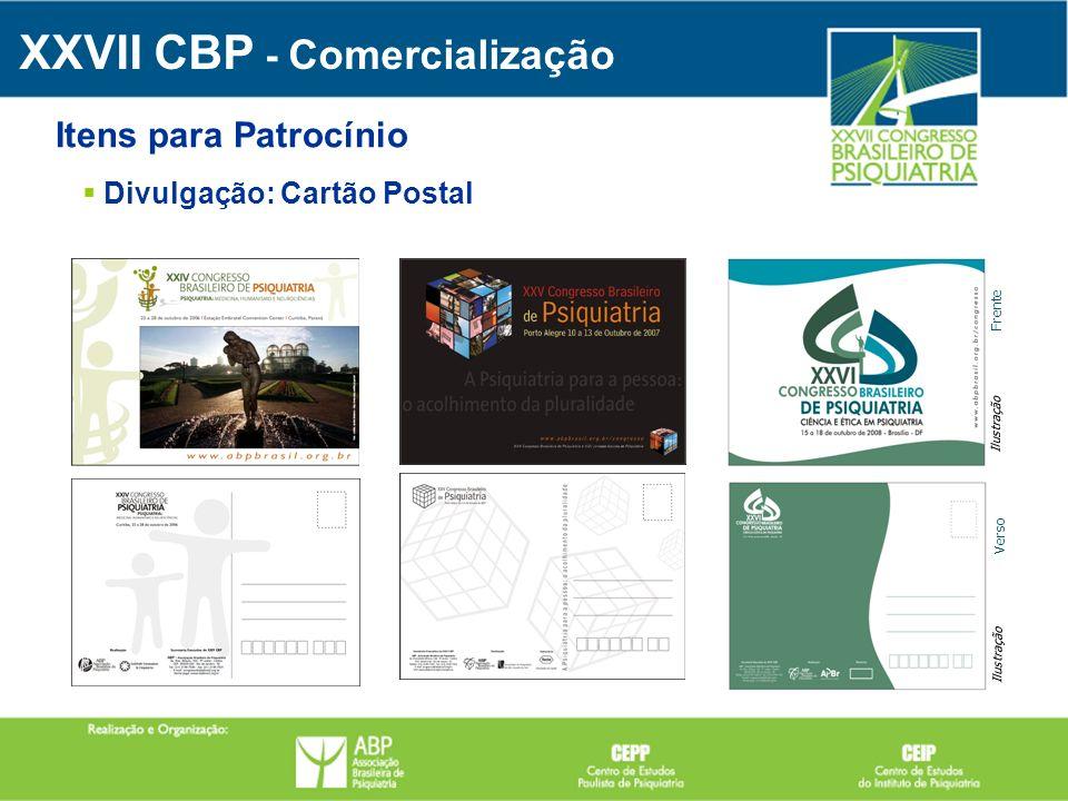 Divulgação: Cartão Postal XXVII CBP - Comercialização Itens para Patrocínio Frente Verso Ilustração
