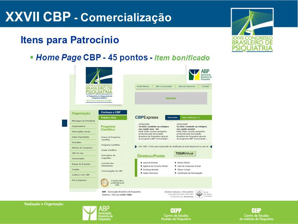 Home Page CBP - 45 pontos - Item bonificado XXVII CBP - Comercialização Itens para Patrocínio