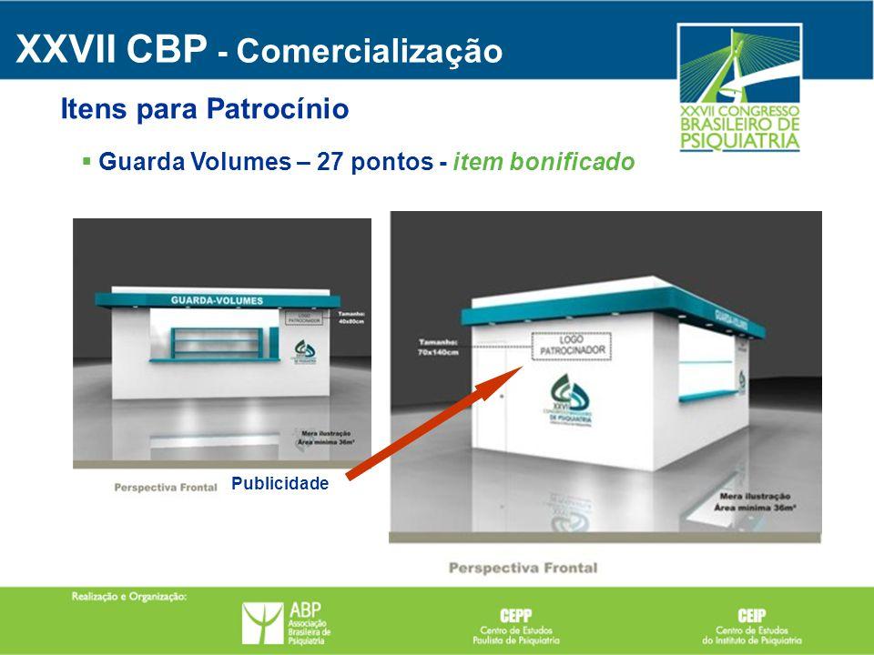 Publicidade Guarda Volumes – 27 pontos - item bonificado XXVII CBP - Comercialização Itens para Patrocínio