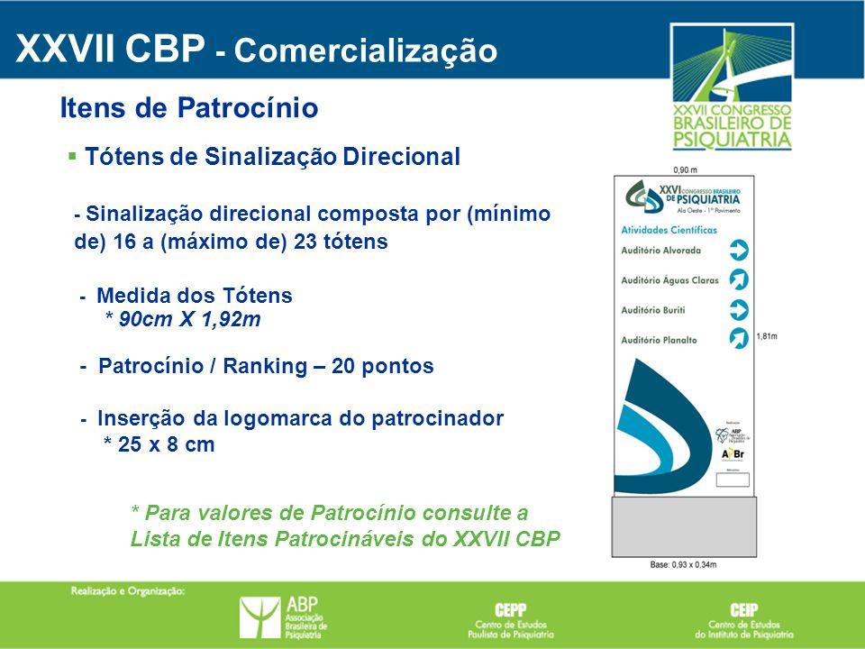XXVII CBP - Comercialização Tótens de Sinalização Direcional Itens de Patrocínio - Sinalização direcional composta por (mínimo de) 16 a (máximo de) 23