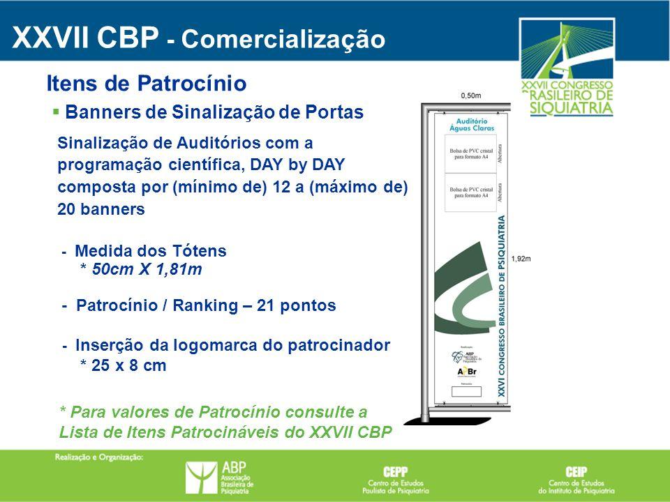 XXVII CBP - Comercialização Banners de Sinalização de Portas Itens de Patrocínio Sinalização de Auditórios com a programação científica, DAY by DAY co