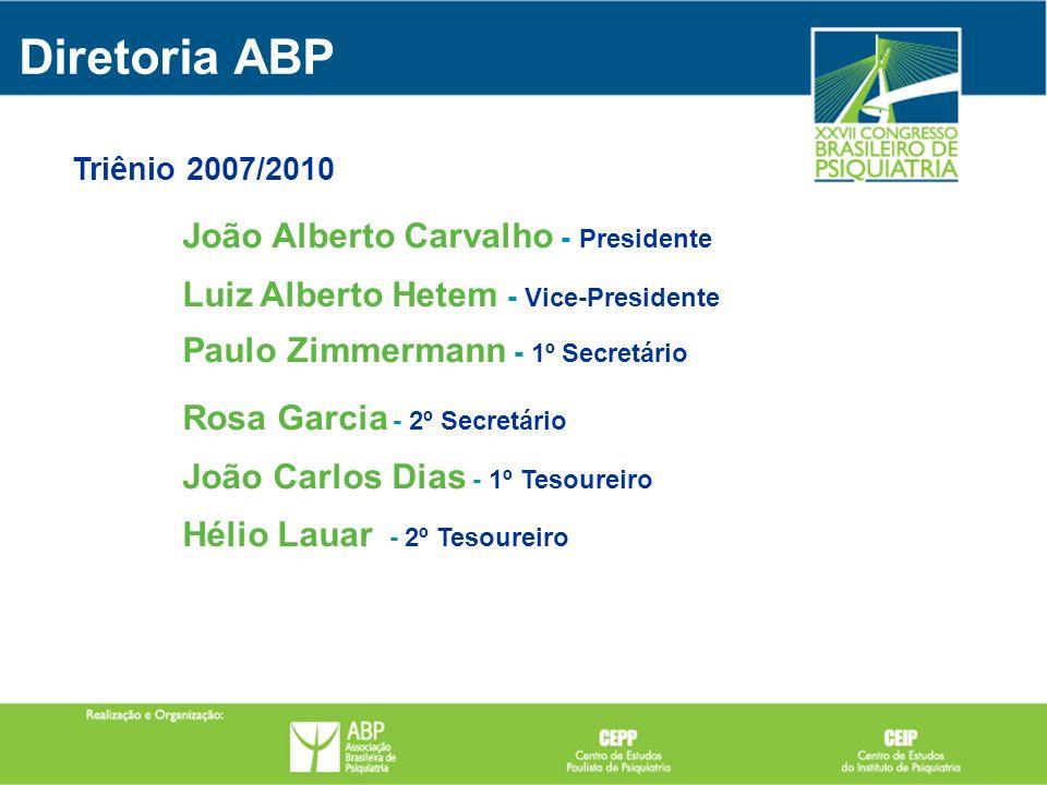 João Alberto Carvalho - Presidente Luiz Alberto Hetem - Vice-Presidente Paulo Zimmermann - 1º Secretário Rosa Garcia - 2º Secretário João Carlos Dias