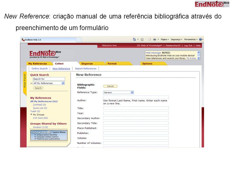 New Reference: criação manual de uma referência bibliográfica através do preenchimento de um formulário