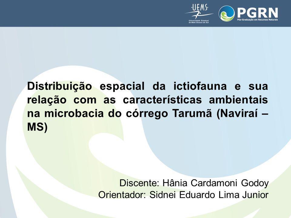 Distribuição espacial da ictiofauna e sua relação com as características ambientais na microbacia do córrego Tarumã (Naviraí – MS) Discente: Hânia Car