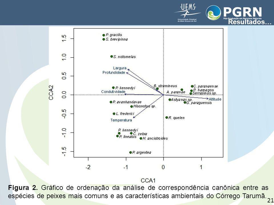 Figura 2. Gráfico de ordenação da análise de correspondência canônica entre as espécies de peixes mais comuns e as características ambientais do Córre