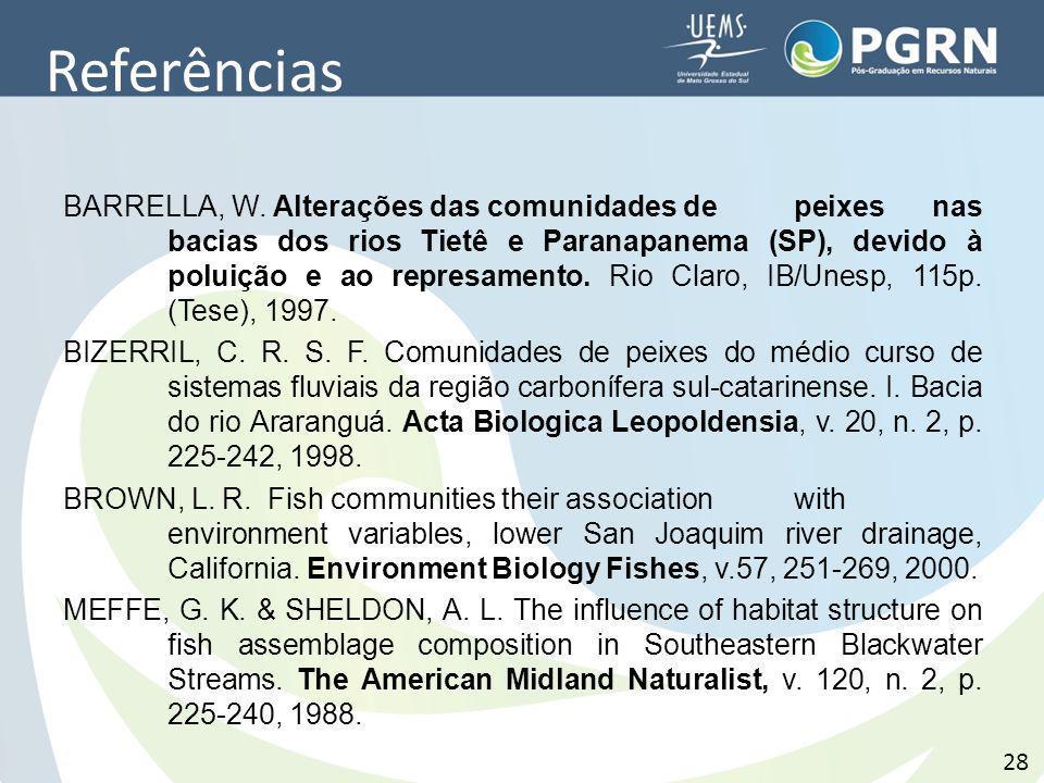 Referências BARRELLA, W. Alterações das comunidades de peixes nas bacias dos rios Tietê e Paranapanema (SP), devido à poluição e ao represamento. Rio