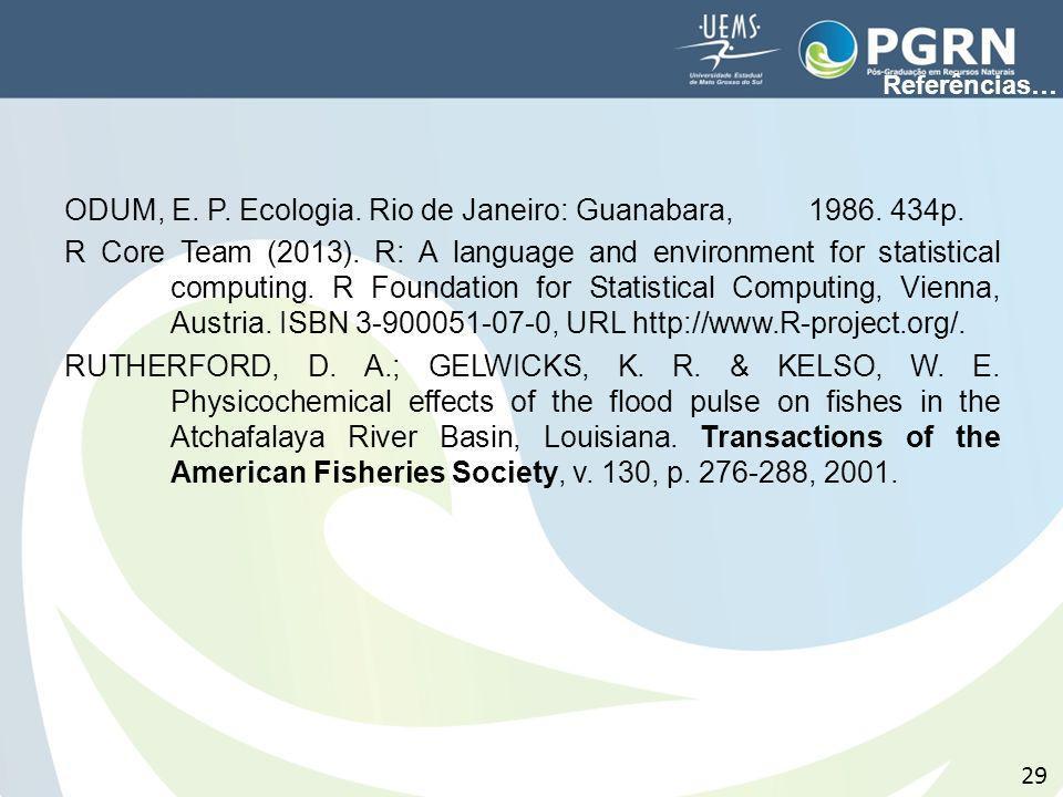 ODUM, E. P. Ecologia. Rio de Janeiro: Guanabara, 1986. 434p. R Core Team (2013). R: A language and environment for statistical computing. R Foundation