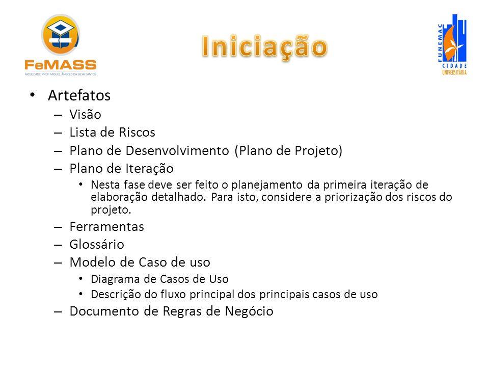 Artefatos – Visão – Lista de Riscos – Plano de Desenvolvimento (Plano de Projeto) – Plano de Iteração Nesta fase deve ser feito o planejamento da prim