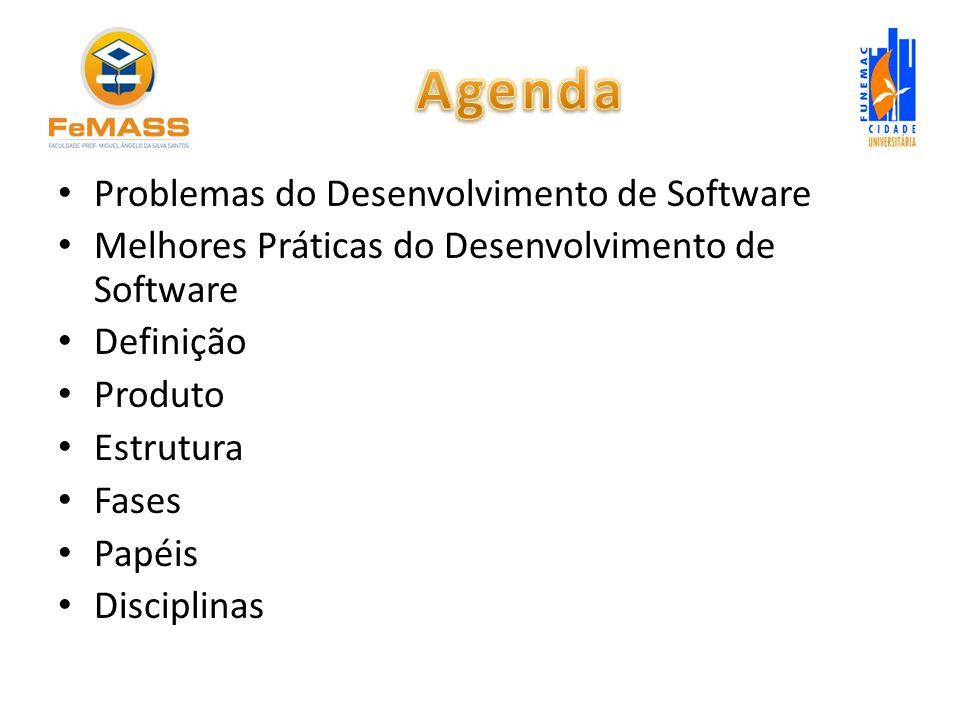 Problemas do Desenvolvimento de Software Melhores Práticas do Desenvolvimento de Software Definição Produto Estrutura Fases Papéis Disciplinas