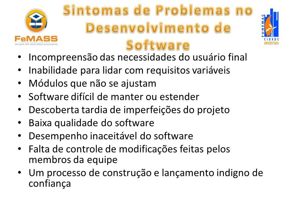 Incompreensão das necessidades do usuário final Inabilidade para lidar com requisitos variáveis Módulos que não se ajustam Software difícil de manter