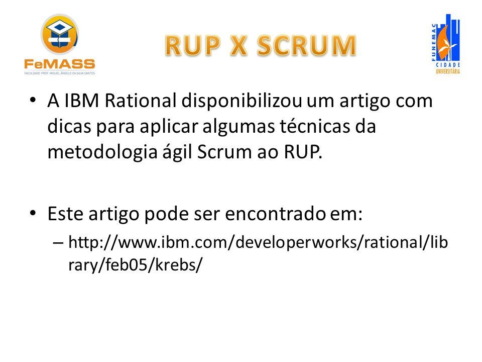 A IBM Rational disponibilizou um artigo com dicas para aplicar algumas técnicas da metodologia ágil Scrum ao RUP. Este artigo pode ser encontrado em: