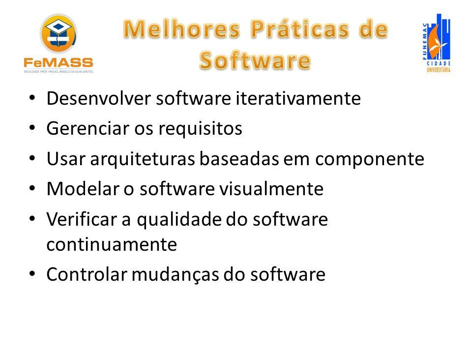 Desenvolver software iterativamente Gerenciar os requisitos Usar arquiteturas baseadas em componente Modelar o software visualmente Verificar a qualid