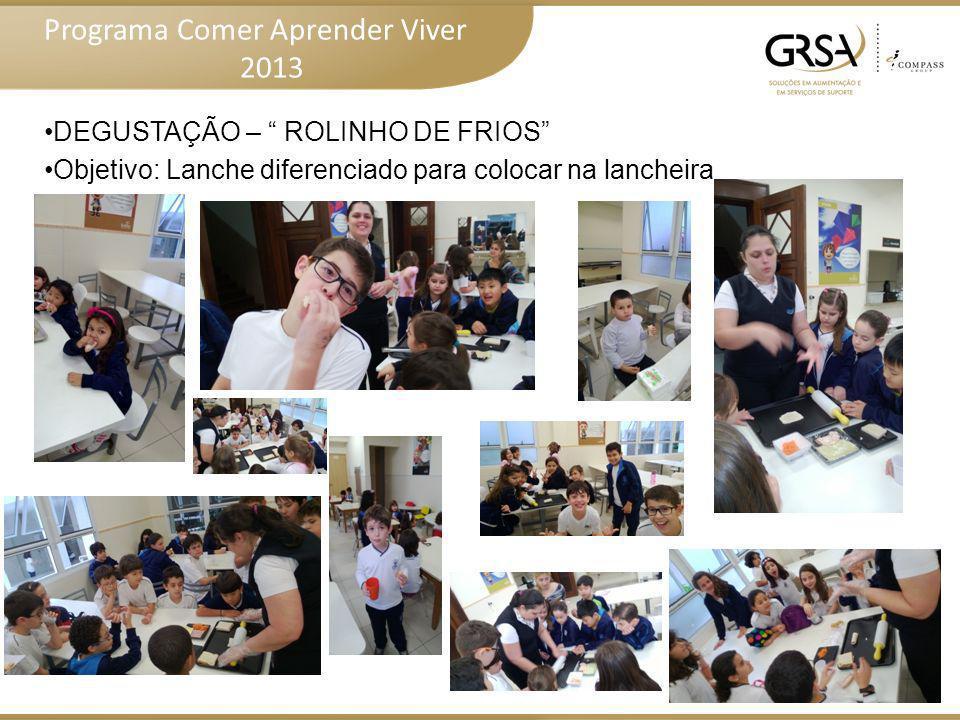 Programa Comer Aprender Viver 2013 DEGUSTAÇÃO – ESPETINHOS DIVERTIDOS Objetivo: Incentivo ao consumo de frutas– outras formas