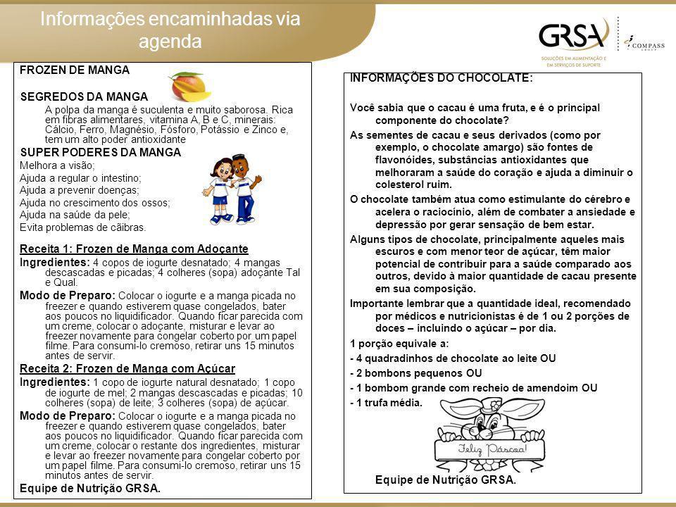 Informações encaminhadas via agenda Equipe de Nutrição GRSA.
