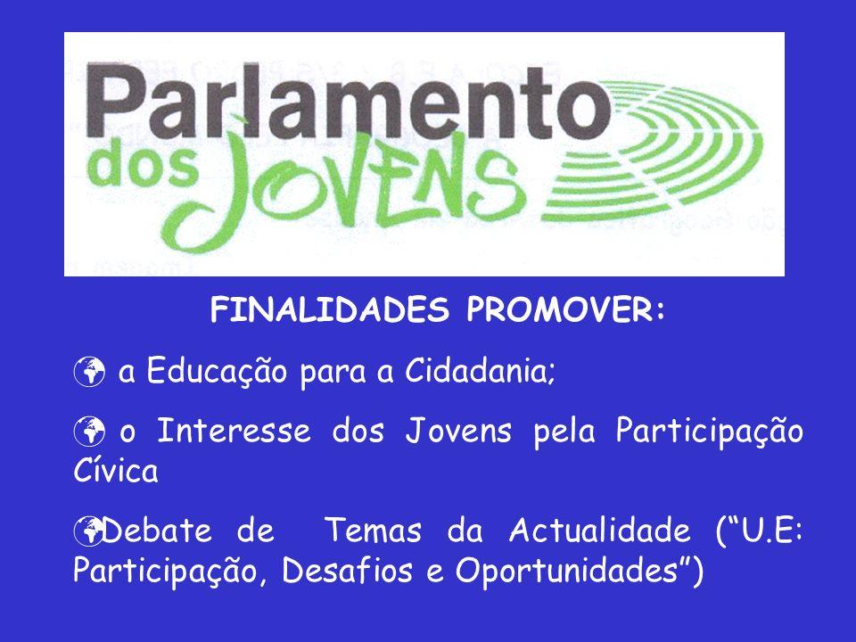 FINALIDADES PROMOVER: a Educação para a Cidadania; o Interesse dos Jovens pela Participação Cívica Debate de Temas da Actualidade (U.E: Participação, Desafios e Oportunidades)