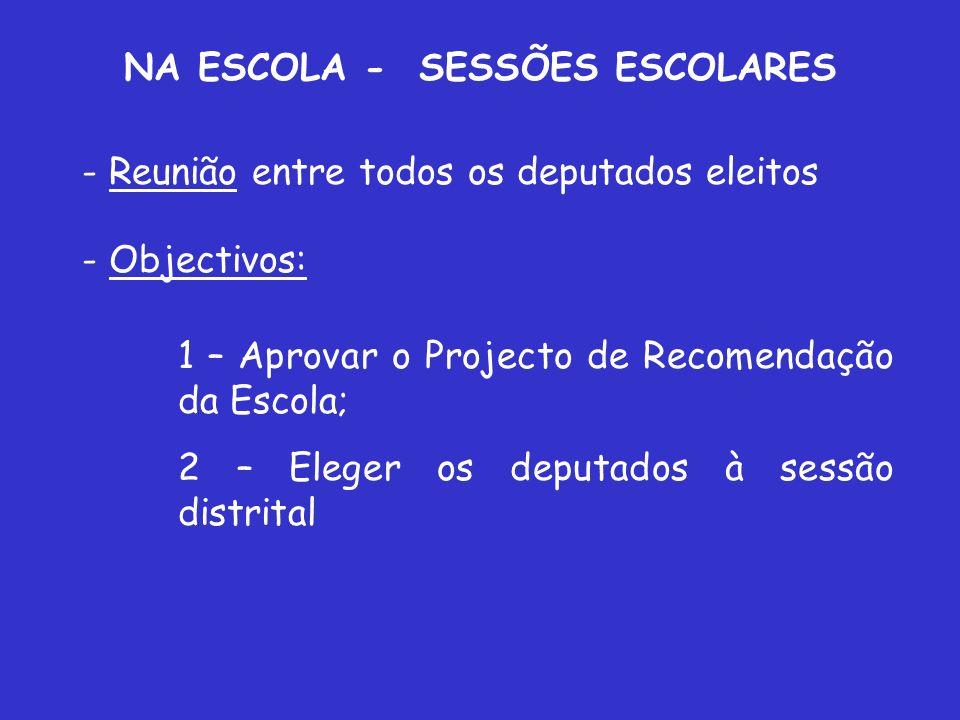 NA ESCOLA - SESSÕES ESCOLARES - Reunião entre todos os deputados eleitos - Objectivos: 1 – Aprovar o Projecto de Recomendação da Escola; 2 – Eleger os