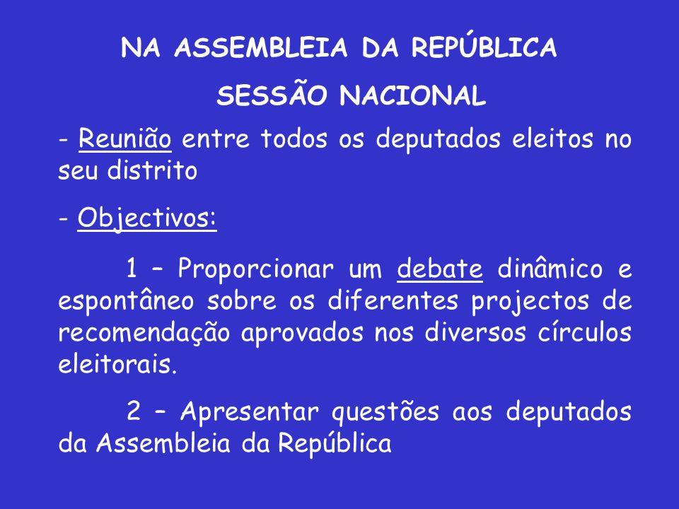 NA ASSEMBLEIA DA REPÚBLICA SESSÃO NACIONAL - Reunião entre todos os deputados eleitos no seu distrito - Objectivos: 1 – Proporcionar um debate dinâmic
