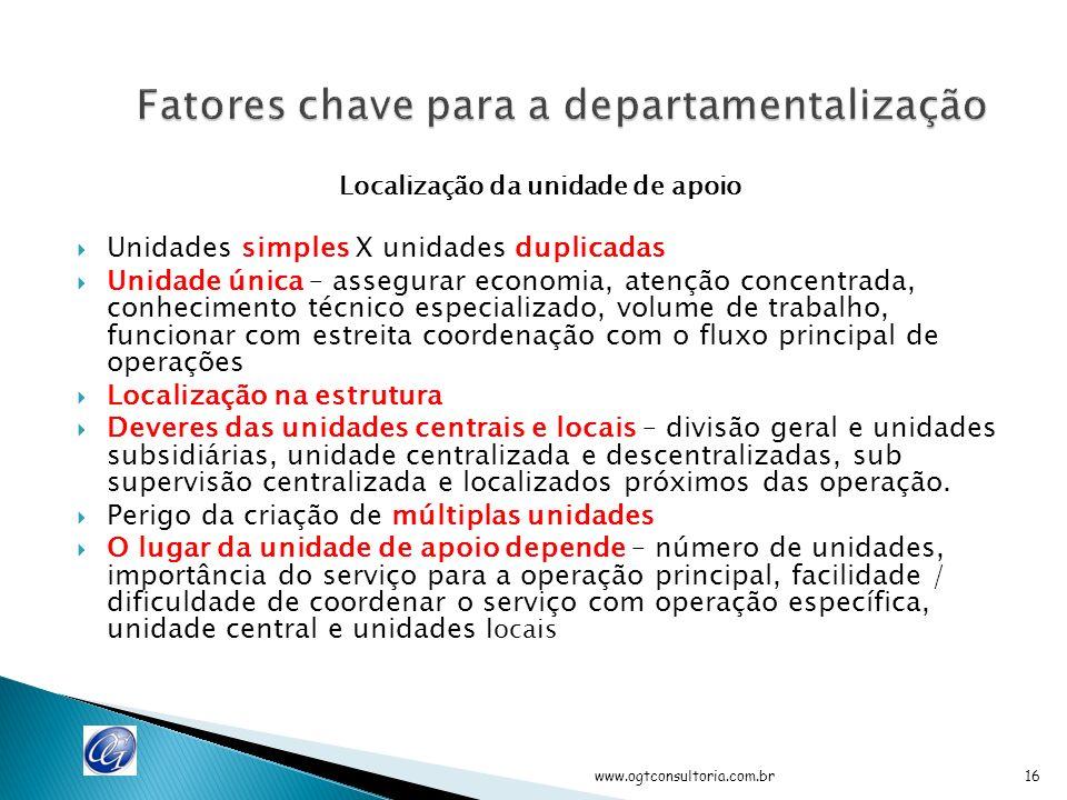Tirar proveito da especialização Facilitar o controle Controles independentes – Tesouraria / contabilidade Confronto paralelo - filial X com filial Y Completa delimitação – demarcação de áreas / depto.