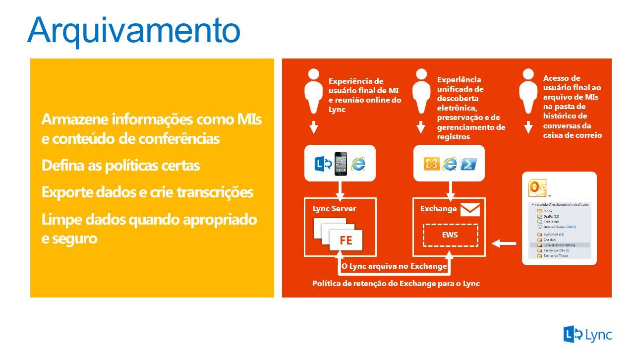 FE Lync ServerExchange EWS O Lync arquiva no Exchange Política de retenção do Exchange para o Lync Experiência de usuário final de MI e reunião online