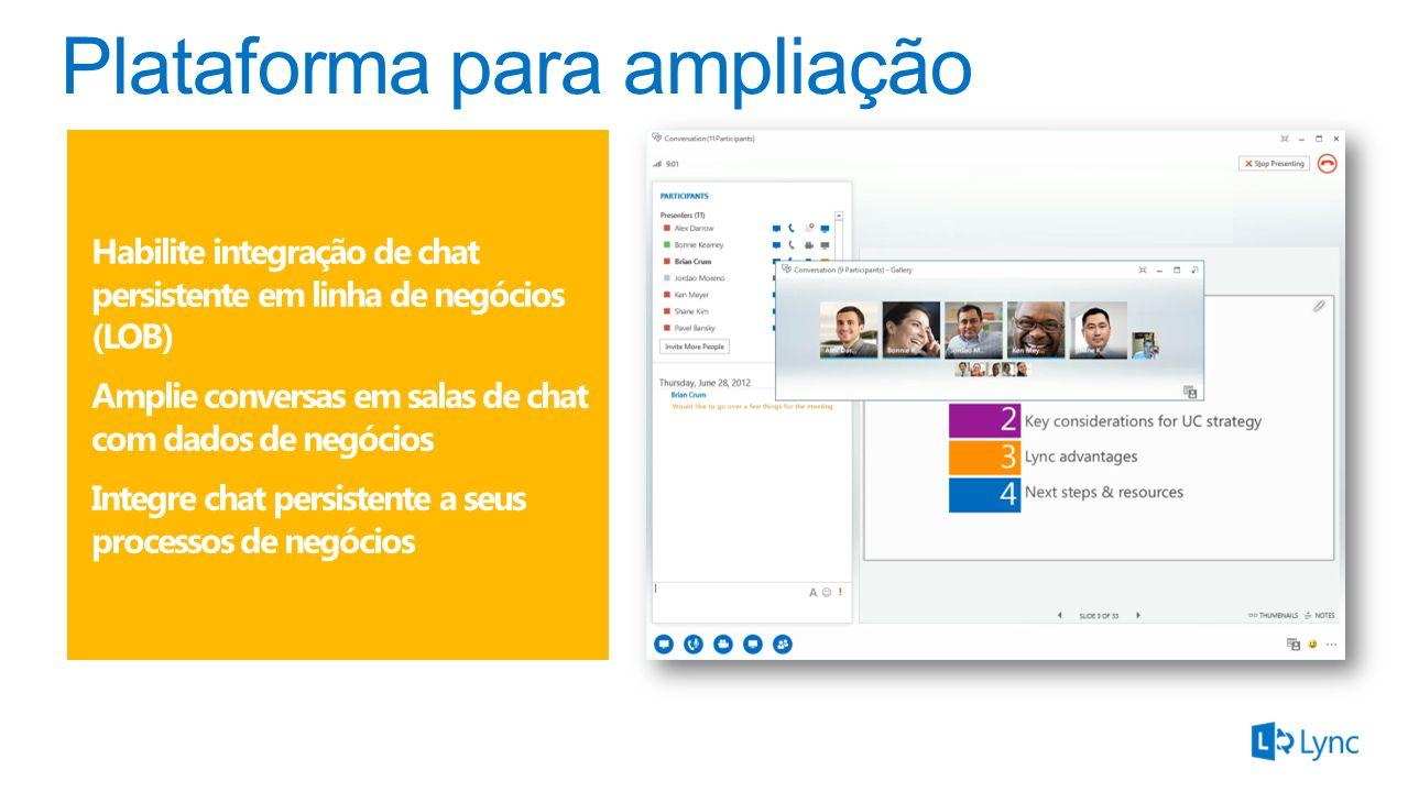 Habilite integração de chat persistente em linha de negócios (LOB) Amplie conversas em salas de chat com dados de negócios Integre chat persistente a