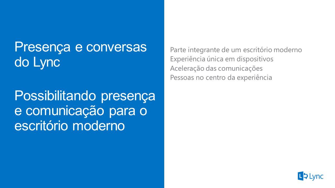 Presença Chat persistenteClientes Mensagem instantânea MI Presença e conversas do Lync Capacite a presença e a comunicação no escritório do futuro