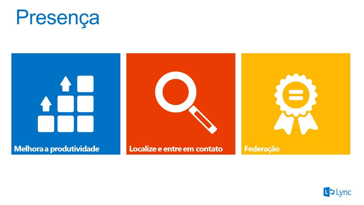 Embutido no Office, SharePoint e Exchange Cartão de contato com a Conexão rápida e fotos em HD Gerencie sua disponibilidade e localização Compartilhe seu contato através de Relações de Privacidade