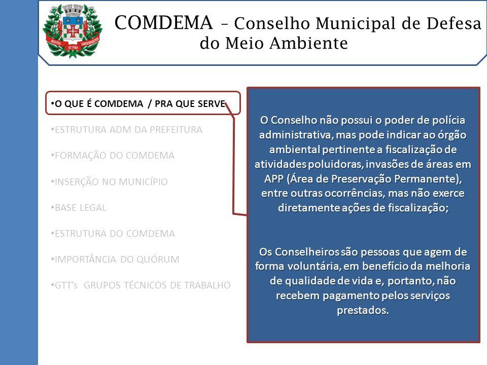 COMDEMA – Conselho Municipal de Defesa do Meio Ambiente O QUE É COMDEMA / PRA QUE SERVE ESTRUTURA ADM DA PREFEITURA COMPOSIÇÃO DO COMDEMA INSERÇÃO NO MUNICÍPIO BASE LEGAL ESTRUTURA DO COMDEMA IMPORTÂNCIA DO QUÓRUM GTTs GRUPOS TÉCNICOS DE TRABALHO C OMPETÊNCIAS E ATRIBUIÇÕES Membros Conselheiros: Compor o Plenário, comparecendo às reuniões Ordinárias e Extraordinárias; Compor o Plenário, comparecendo às reuniões Ordinárias e Extraordinárias; Debater a matéria em discussão; Debater a matéria em discussão; Votar na deliberação após debates nas Reuniões do Plenário; Votar na deliberação após debates nas Reuniões do Plenário; Requerer informações, providências e esclarecimentos à Diretoria Executiva; Requerer informações, providências e esclarecimentos à Diretoria Executiva; Pedir vistas de processos; Pedir vistas de processos;