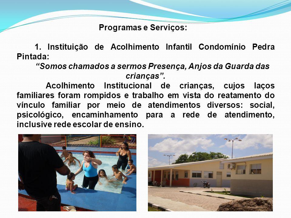 Programas e Serviços: 1. Instituição de Acolhimento Infantil Condomínio Pedra Pintada: Somos chamados a sermos Presença, Anjos da Guarda das crianças.