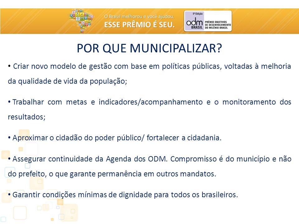 POR QUE MUNICIPALIZAR? Criar novo modelo de gestão com base em políticas públicas, voltadas à melhoria da qualidade de vida da população; Trabalhar co