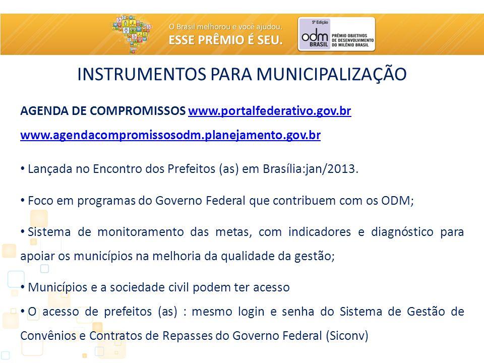 INSTRUMENTOS PARA MUNICIPALIZAÇÃO AGENDA DE COMPROMISSOS www.portalfederativo.gov.brwww.portalfederativo.gov.br www.agendacompromissosodm.planejamento